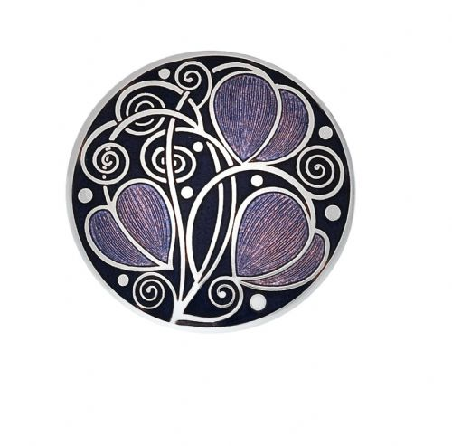 Mackintosh Leaves and Coils Brooch Purple Silver Plated Brand New Gift Packaging